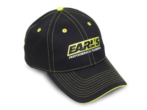 Earls black cap with yellow trim