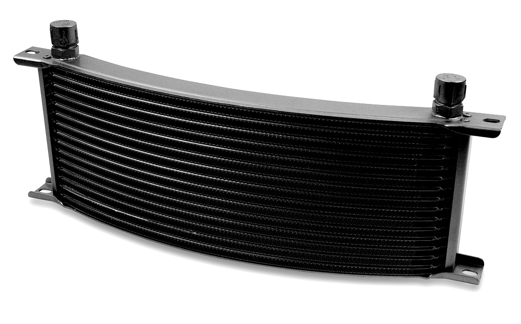 Earls 16 Row Oil Cooler Core, -8 AN male fitting size, black narrow